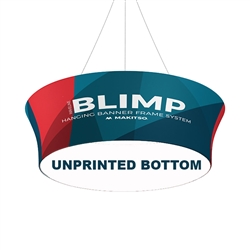 10' x 36'' MAKITSO Blimp Tube Tapered Hanging Tension Fabric Banner With Blank Bottom. Blimp series of hanging signs for trade show made from light aluminum, wrapped in a vibrant dye-sublimation graphic print. Hang overhead from ceilings or truss systems.