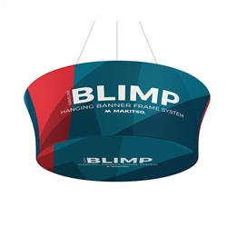 10' x 36'' MAKITSO Blimp Tube Tapered Hanging Tension Fabric Banner With Printed Bottom. Blimp series of hanging signs for trade show made from light aluminum, wrapped in a vibrant dye-sublimation graphic print. Hang overhead from ceilings or truss system