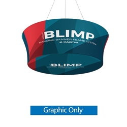 10ft x 36in MAKITSO Blimp Tube Tapered Hanging Tension Fabric Banner With Printed Bottom Graphic Only. Blimp series of hanging signs for trade show made from light aluminum, wrapped in a vibrant dye-sublimation graphic print. Hang overhead from ceilings