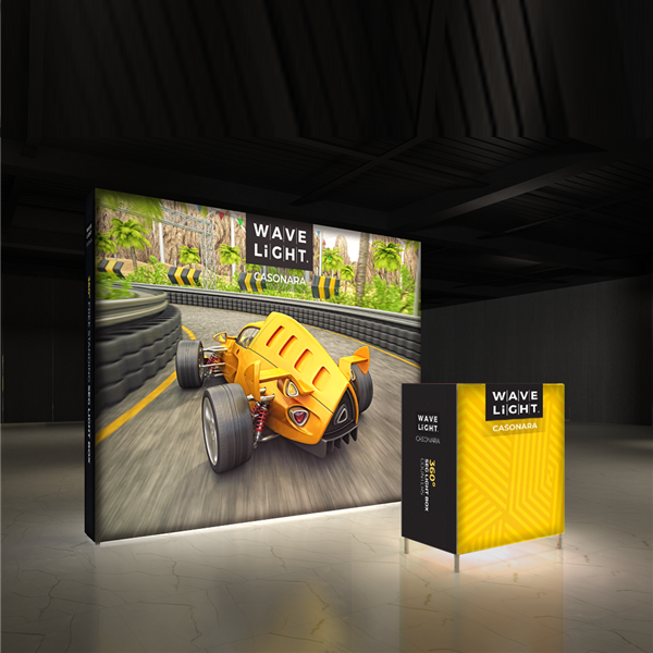 Breathe new light into your brand, exhibit, event or retail shop with the 10' x 10' WaveLight Casonara SEG Light Box Displays. This pioneering new SEG tension fabric light box is designed to make backlit graphics more portable, modular and customizable.
