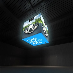 Breathe new light into your brand, exhibit, event or retail shop with the WaveLight Casonara Blimp Rectangle 360 Hanging Light Box Displays.