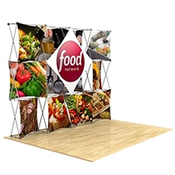 10ft 3D Snap Fabric Trade Show Display Kit Layout 1 with Square Hard Case is unique product offering for Trade Show. The Xpressions series offers many of the features the exhibitors look for in a high quality trade show pop up background displays