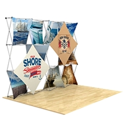 10ft x 90in 3D Snap Fabric Display Layout Tree with Square Hard Case is unique product offering for Trade Show. The Xpressions series offers many of the features the exhibitors look for in a high quality trade show pop up background displays