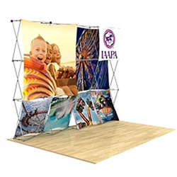 10ft x 90in 3D Snap Tension Fabric Display Layout 4 with Square Hard Case is unique product offering for Trade Show. The Xpressions series offers many of the features the exhibitors look for in a high quality trade show pop up background displays