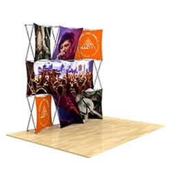90in x 90in 3D Snap Tension Fabric Display Layout 2 with Square Hard Case is unique product offering for Trade Show. The Xpressions series offers many of the features the exhibitors look for in a high quality trade show pop up background displays