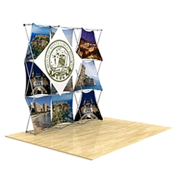8ft x 8ft 3D Snap Tension Fabric Display Layout 3 with Square Hard Case is unique product offering for Trade Show. The Xpressions series offers many of the features the exhibitors look for in a high quality trade show pop up background displays