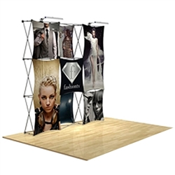 8ft x 8ft 3D Snap Tension Fabric Display Kit 4 with Square Hard Case is unique product offering for Trade Show. The Xpressions series offers many of the features the exhibitors look for in a high quality trade show pop up background displays