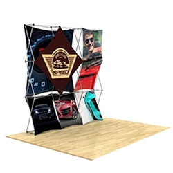 8ft x 8ft 3D Snap Tension Fabric Display Kit 6 with Square Hard Case is unique product offering for Trade Show. The Xpressions series offers many of the features the exhibitors look for in a high quality trade show popup background displays