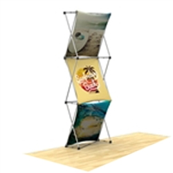 30in x 90in 3D Snap 1x3 Layout 1 Fabric Display Kit with custom made dye-sublimation fabric graphics for trade shows and exhibits. Xpressions SNAP displays, pop-up trade show exhibits really grab attention with their unique 3D look.