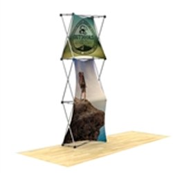 30in x 90in 3D Snap 1x3 Design 2 Fabric Display Kit with custom made dye-sublimation fabric graphics for trade shows and exhibits. Xpressions SNAP displays, pop-up trade show exhibits really grab attention with their unique 3D look.