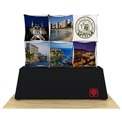 90in x 60in 3D Snap 3x2 Fabric Table Top pop up display in the perfect tabletop size. Interchangeable, dye-sublimated fabric banners create an unlimited number of looks with one tabletop display. Xpressions SNAP displays grab attention.