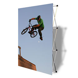 VBurst 8ft Fabric Popup Display from xyzDisplays is a perfect choice for anyone that needs a large display but is unwilling to give up durability, weight, ease of setup, or quality. This display system is ideal for your next expo, tradeshow.