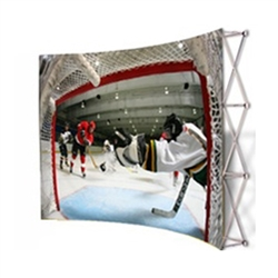 VBurst 10ft Curved Fabric Popup Display from xyzDisplays is a perfect choice for anyone that needs a large display but is unwilling to give up durability, weight, ease of setup, or quality. This display system is ideal for your next expo, tradeshow.