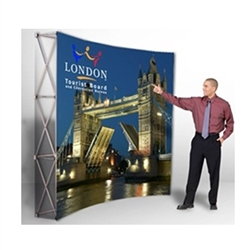 VBurst 8ft Curved Fabric Popup Display from xyzDisplays is a perfect choice for anyone that needs a large display but is unwilling to give up durability, weight, ease of setup, or quality. This display system is ideal for your next expo, tradeshow.