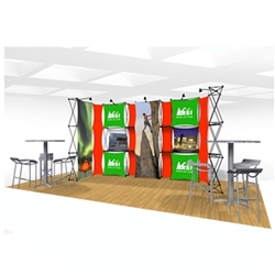20ft Xpressions SNAP Connex Kit B Tradeshow Display. Create a stunning 3-dimensional display in a Snap! Twelve frames, two planes for integrated graphics, and infinite configurations, offer a playground to create dramatic effects