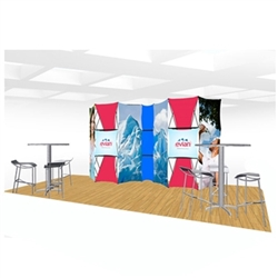 20ft Xpressions SNAP Connex Kit E Tradeshow Display. Create a stunning 3-dimensional display in a Snap! Twelve frames, two planes for integrated graphics, and infinite configurations, offer a playground to create dramatic effects
