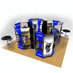 20ft Xpressions SNAP Connex Island Kit B Tradeshow Display. Create a stunning 3-dimensional display in a Snap! Twelve frames, two planes for integrated graphics, and infinite configurations, offer a playground to create dramatic effects