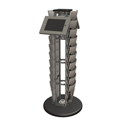 "Orbital Express Truss Literature Monitor Kiosk 05 - Holds up to 10 pieces of literature & Supports 23"" monitor, max weight = 50 lbs. Our brochure Multimedia holders are available in a variety of sizes and styles to meet all brochure or multimedia needs."
