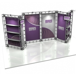 10ft x 20ft Indus Orbital Express Trade Show Truss Display with Fabric Graphics is a complete truss exhibit, professionally designed to fit a 10ft × 20ft trade show booth space. Orbital truss displays are most popular trade show displays
