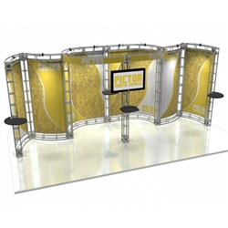 10ft x 20ft Pictor Orbital Express Trade Show Truss Display with Fabric Graphics is a complete truss exhibit, professionally designed to fit a 10ft × 20ft trade show booth space. Orbital truss displays are most popular trade show displays