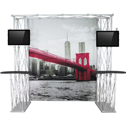 10ft x 8ft Construo Popup Truss Display gives you the amazing look of a custom exhibit. Truss is the next generation in dynamic trade show structure. Orbital truss displays are most popular trade show displays
