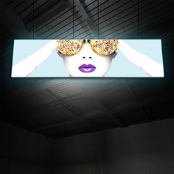 "15ft x 4ft Vector Frame Hanging Light Display . These lightweight, illuminated structures feature 4"" extrusion frames, LED lighting and push-fit fabric graphics that help you stand out in any environment."