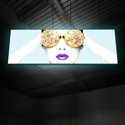 "15ft x 5ft Vector Frame Hanging Light Display . These lightweight, illuminated structures feature 4"" extrusion frames, LED lighting and push-fit fabric graphics that help you stand out in any environment."