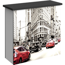 Hybrid Pro Modular Counter 03 is a stylish counter solution for any exhibit, featuring accessible storage with locking doors, choice of opaque or backlit push-fit fabric graphics and top laminated accent panel cover.