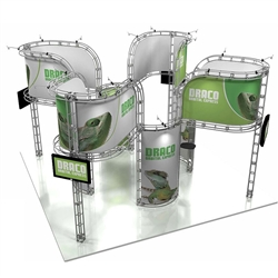 20ft x 20ft Island Draco Orbital Express Truss Display with Rollable Graphic is the next generation in dynamic trade show exhibits. Draco Orbital Express Truss Kit is a premium trade show display is designed to be used in a 20ft x 20ft exhibit space