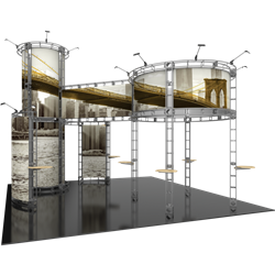 20ft x 20ft Island Corvus Orbital Express Truss Display with Rollable Graphic is the next generation in dynamic trade show exhibits. Corvus Orbital Express Truss Kit is a premium trade show display is designed to be used in a 20ft x 20ft exhibit space