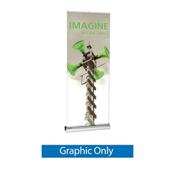 33.5in Imagine Interchangeable Cassette Retractable Banner Stand with Vinyl Banner is a premium, single-sided cassette retractable banner stand display for frequent graphics changes and switch-outs, our most popular removable cassette roller system