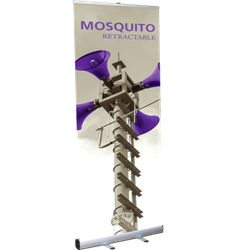 33.5in Mosquito 850 Silver Retractable Banner Stand with Vinyl Banner. Mosquito Retractable Banner Stand Displays, also known as roll up exhibit displays, are ideal for trade show displays and retail environments. Advertising that stands up and stands ou