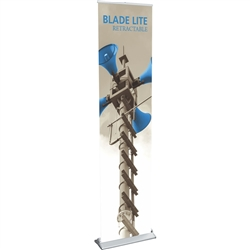 15.75in Blade Lite Retractable Banner Stand Display with Fabric Banner. The Blade Lite retractable banner stand has a graphic that is easy to change on the spot making it ideal for traveling exhibitors!