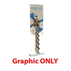 Replacement Vinyl Banner for 15.75in Blade Lite Retractable Banner Stand. The Blade Lite retractable banner stand has a graphic that is easy to change on the spot making it ideal for traveling exhibitors!