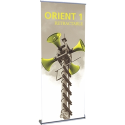 31.5in Orient 800 Retractable Silver Stand with Vinyl Banner, also known as roll up exhibit displays, are ideal for trade show displays and retail environments. Super affordable Orient 800 retractable banner stand was designed with price in mind