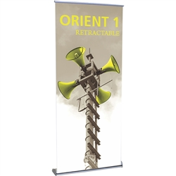 33.5in Orient 800 Retractable Silver Stand with Vinyl Banner, also known as roll up exhibit displays, are ideal for trade show displays and retail environments. Super affordable Orient 850 retractable banner stand was designed with price in mind