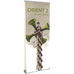 31.5in Orient 800 Retractable Silver Double-Sided Stand with Vinyl Banner, also known as roll up exhibit displays, are ideal for trade show displays and retail environments. Super affordable Orient 800 retractable banner stand.