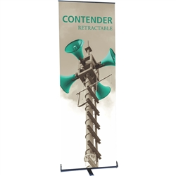 24in Contender Mini Silver Retractable Banner Stand w/ Vinyl Banner is best selling made in the USA banner stand trade show display. The Contender Retractable Banner has become a market leader, proving its dependability show after show.