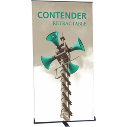 48in Contender Monster Retractable Black Banner Stand with Vinyl Banner is best selling made in the USA banner stand trade show display. The Contender Retractable Banner has become a market leader, proving its dependability show after show.
