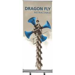 33in Dragon Fly Double-Sided Retractable Stand with 2 Fabric Banners. Retractable banners provide mobile presentation solutions for trade show display booths, retail stores, restaurants, and hotels. Advertising that stands up and stands out!