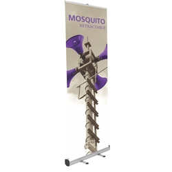 32in Mosquito 800 Silver Retractable Banner Stand with Vinyl Banner also known as roll up exhibit displays, are ideal for trade show displays,retail environments. Mosquito 800 Retractable Banner Stand called roll up banner stands or pull up banner stands