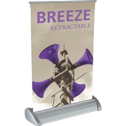 11in x 17in Breeze 2 Retractable Tabletop Stand Display with Vinyl Banner - a small tabletop-sized version of larger roll-up signs. Ideal for retail store point of purchase counter tops, convention tables, or just about anywhere you want a sign