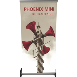 16in x 32in Phoenix Mini Retractable Tabletop Stand Display with Vinyl Banner - a small tabletop-sized version of larger roll-up signs. Ideal for retail store point of purchase counter tops, convention tables, or just about anywhere you want a sign