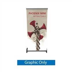 Vinyl Banner Only for 16in x 63in Phoenix Mini Full Height Retractable Tabletop Banner. Phoenix Mini  a small tabletop-sized version of larger roll-up signs. Ideal for retail store point of purchase counter tops, convention tables, or just about anywhere.