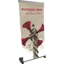 16in x 32in Phoenix Mini Retractable Tabletop Stand Display with Fabric Banner - a small tabletop-sized version of larger roll-up signs. Ideal for retail store point of purchase counter tops, convention tables, or just about anywhere you want a sign