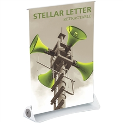 8.5in x 11in Stellar Letter Retractable Tabletop Banner Stand Vinyl - a small tabletop-sized version of larger roll-up signs. View a wide variety of portable banner stands to use at your tradeshows and conferences