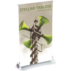 11in x 17in Stellar Tabloid Retractable Tabletop Banner Stand Vinyl - a small tabletop-sized version of larger roll-up signs. View a wide variety of portable banner stands to use at your tradeshows and conferences