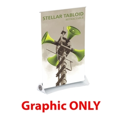 Replacement Vinyl Banner for 11in x 17in Stellar Tabloid Retractable Tabletop Banner Stand - a small tabletop-sized version of larger roll-up signs. View a wide variety of portable banner stands to use at your tradeshows and conferences