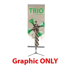 Replacement Vinyl Banner for Trio with Lit Pocket. This Telescopic banner stand is perfect for nearly any display needs. An excellent choice for a telescopic banner stand, the Trio supports a single and double-sided graphic.