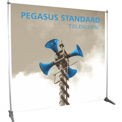The super affordable 8ft x 8ft Pegasus Standard Telescopic Black Banner Stand Hardware Only are one of the most universal promotional displays used throughout trade show or events.